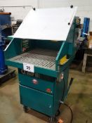 QAIR MODEL 500 PORTABLE EXHAUST BOOTH, MOUNTED ON CASTORS, S/N 200424 (RIGGING FEE $80)
