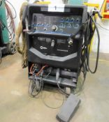 MILLER SYNCROWAVE 250 DX TIG WELDER MOUNTED ON CART, FOOT CONTROL (MADE USA) (NO CYLINDERS)(RIGGING