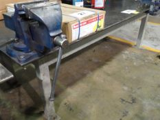 """48"""" X 96"""" STEEL WORK TABLE C/W RECORD #6 VICE (RIGGING FEE $80)"""