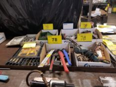 LOT OF PIPE WRENCHES, VISE GRIPS, DRILLS ETC