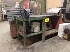 """LOT 27"""" x 24"""" x 34"""" STEEL TABLE W/ 5"""" VISE AND 28"""" X 30"""" X 34"""" STEEL TABLE (NO CONTENTS)"""