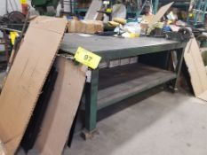 """80"""" x 48"""" x 34"""" STEEL TABLE W/ 6"""" VISE (NO CONTENTS)"""