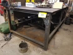 """82"""" x 60"""" x 36"""" WELDING TABLE W/ 4-1/2"""" BENCH VISE (NO CONTENTS)"""