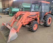KUBOTA BF800 LOADER, S/N 10910, L3350 4WD, HYDRAULIC SHUTTLE, MARK VII, APPROX. 5,750HRS, BUCKET