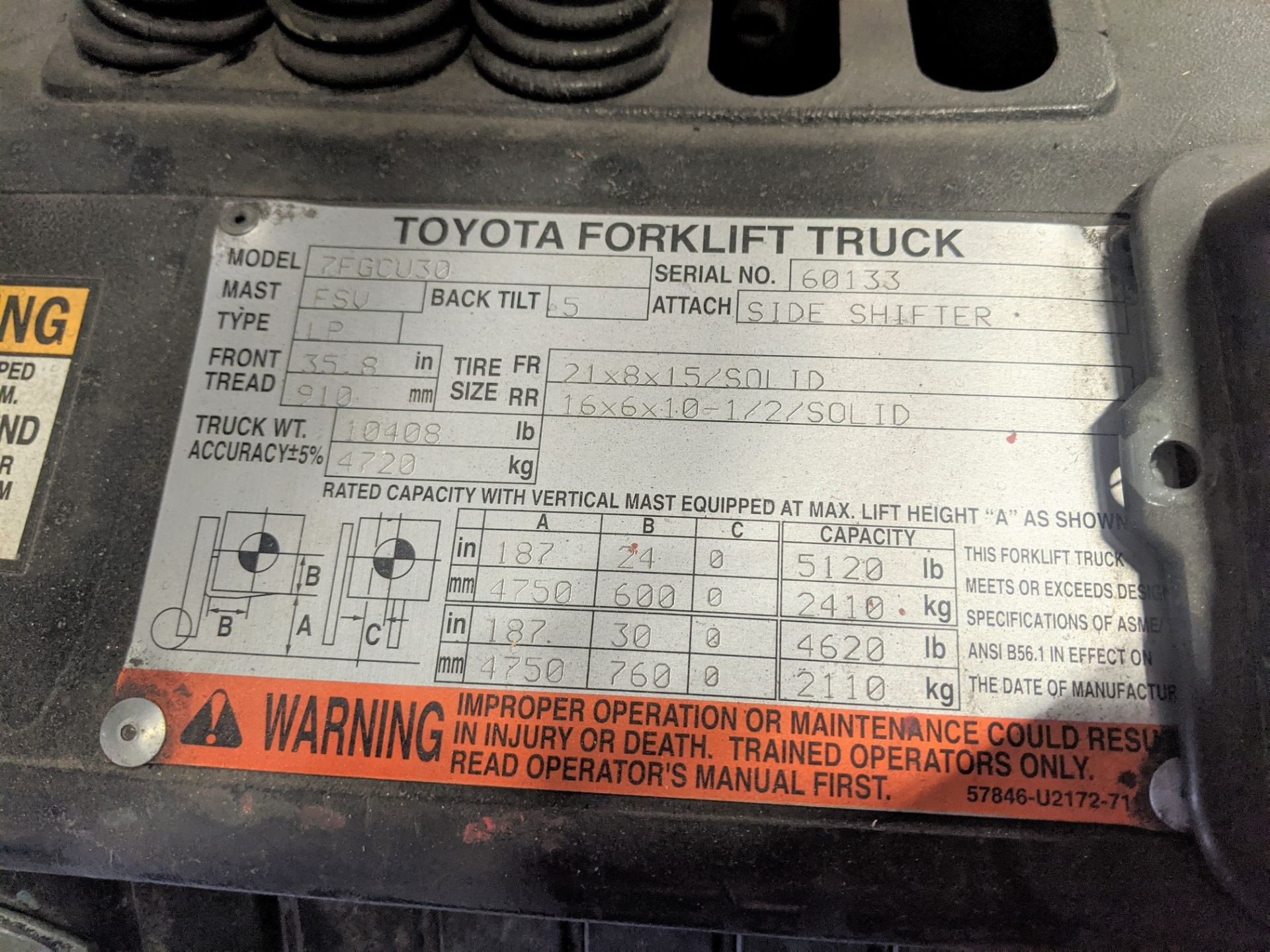 "TOYOTA 7FGCU30 PROPANE FORKLIFT, 5,120LB CAP., 187"" MAX LIFT, 3-STAGE MAST, SIDE SHIFT, S/N 60133, - Image 5 of 13"