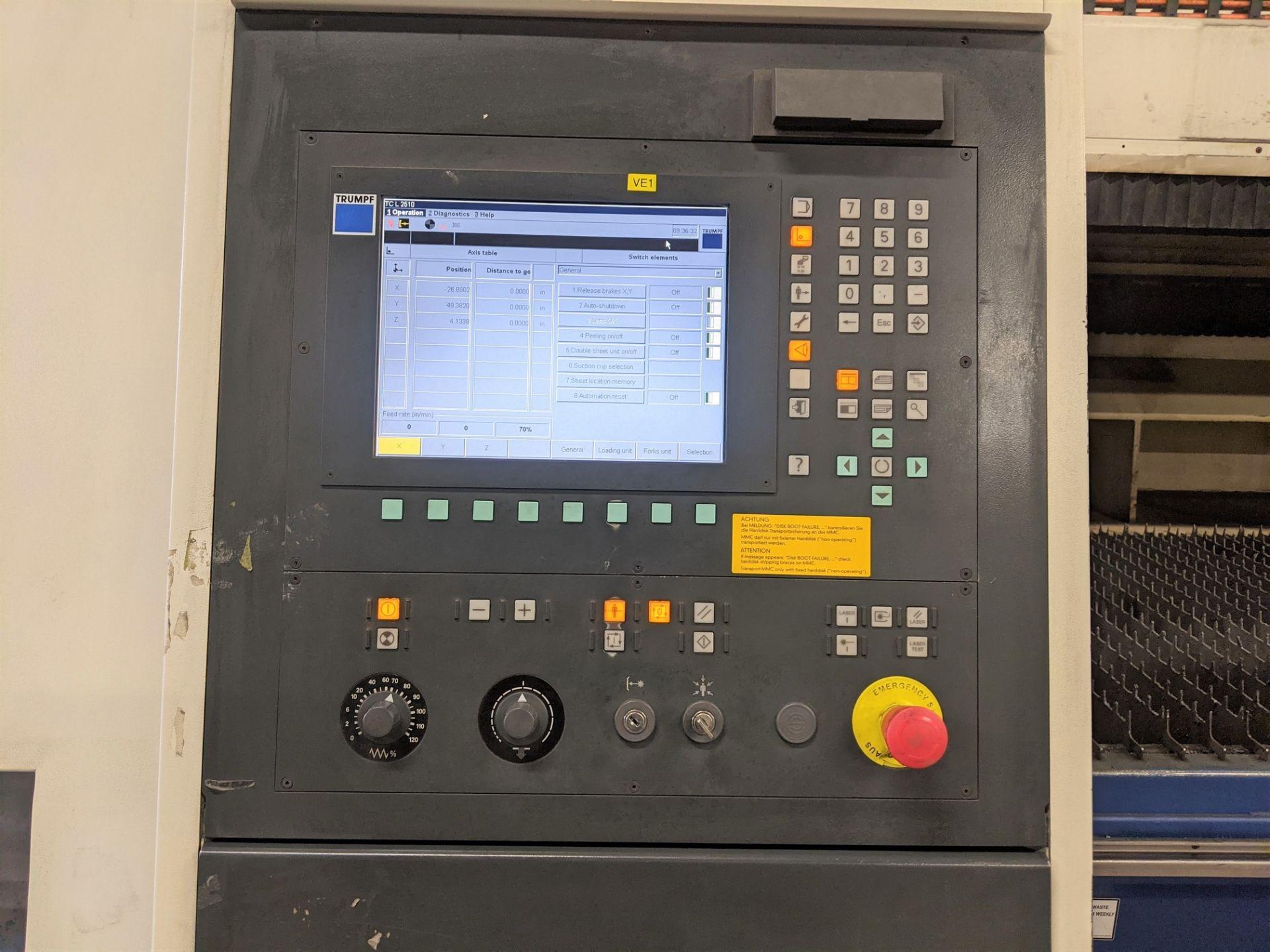 "2006 TRUMPF TRUMATIC L 2510 CNC LASER, 2,000 WATT, 4' X 10' TABLE, TRAVELS: X-120"", Y-50"", Z- - Image 9 of 32"