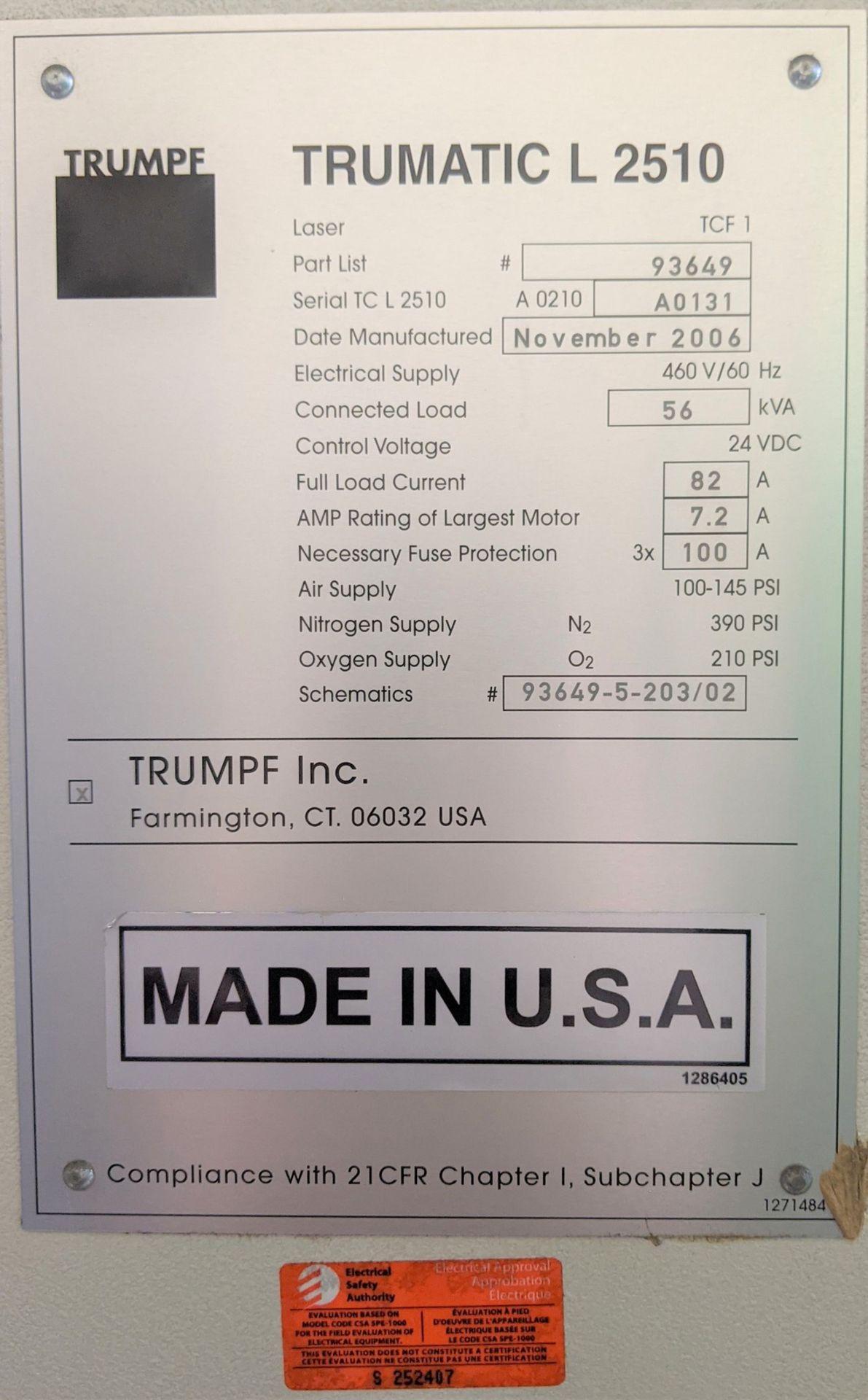 "2006 TRUMPF TRUMATIC L 2510 CNC LASER, 2,000 WATT, 4' X 10' TABLE, TRAVELS: X-120"", Y-50"", Z- - Image 21 of 32"