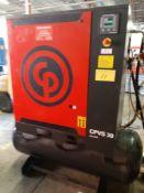 2012 CHICAGO PNEUMATIC CPVS 30 UL ROTARY SCREW AIR COMPRESSOR, 30HP, S/N CP1578992 W/ CPX180 AIR