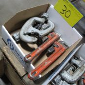 """LOT OF (1) BOX W/ (2) RIDGID PIPE CUTTERS 1-3"""", (2) RIDGID PIPE WRENCHES 14"""""""