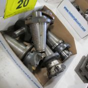 BOX OF (5) CAT 50 TOOL HOLDERS W/ ATTACHMENTS