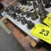 LOT OF 1-ROW OF (7) CAT 40 TOOL HOLDERS W/ ATTACHMENTS