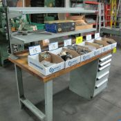 """ROUSSEAU WOODBLOCK TOP WORKBENCH, 30"""" D X 5'L , W/ 5-DRAWERS & (6) BOXES OF LATHE TOOLING"""