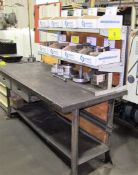 """WORKBENCH 30"""" X 6'L W/ (8) BOXES OF LATHE TOOLING"""