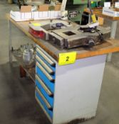 ROUSSEAU WORK BENCH W/WOOD BLOCK TOP, LATHE TOOLING IN 5 DRAWERS (NO SUNNEN TOOLING ON BENCH)