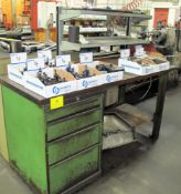 LISTA WORK BENCH W/ WOOD BLACK TOP, TOOLING IN (8) BOXES, & 4 DRAWERS