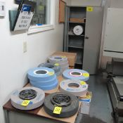 2-DOOR METAL CABINET W/ GRINDING WHEELS, FILTRATION ROLL & OKAMOTO BALANCER FOR GRINDING WHEELS