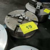 """LOT OF (2) 4-JAW CHUCKS (14"""" & 12-1/2"""") W/ EXTRA BACK PLATE"""
