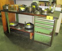 """LISTA WORK BENCH 30""""D X 6'L W/5 DRAWER CABINET W/TOOLING & 6 BOXES (2 UPPER SHELVES) OF TOOLING"""