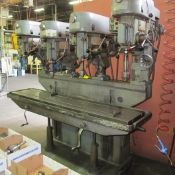 """ALZEMETAL 4-SPINDLE DRILL PRESS, 80""""W X 20""""D TABLE, (4) JACOBS CHUCKS, 80 TO 1420 RPM (RIGGING"""