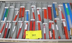 CONTENTS OF 1-DRAWER OF ROUSSEAU TOOL CABINET INCLUDING REAMERS CARBIDE/CUSTOM (SUBJECT TO BULK