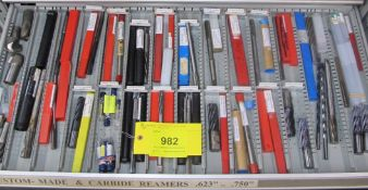 CONTENTS OF 1-DRAWER OF ROUSSEAU TOOL CABINET INCLUDING END MILLS / REAMERS CARBIDE/CUSTOM (