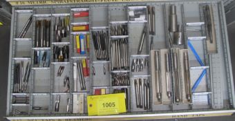 CONTENTS OF 1-DRAWER OF ROUSSEAU TOOL CABINET INCLUDING TAPS, REAMERS, END MILLS (SUBJECT TO BULK
