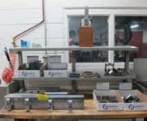 LOT OF SETUP BLOCKS, V-BLOCKS, PARALLELS, FIXTURES (UPPER BENCH CONTENTS, BENCH NOT INCLUDED)
