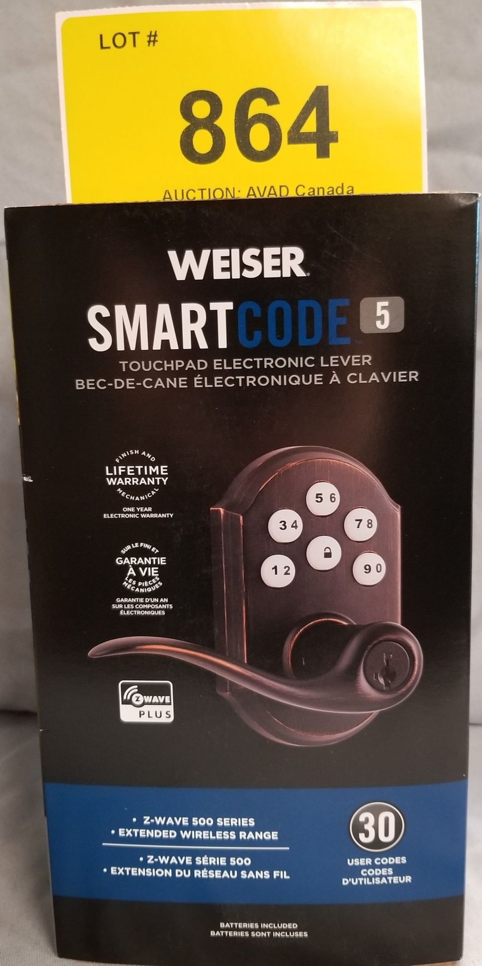 WEISER SMART CODE 5 TOUCHPAD ELECTRONIC LEVER - (BNIB) MSRP $229
