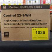 JBL, CONTROL 23-1-WH HIGH OUTPUT SPEAKER, PAIR - (BNIB) MSRP $235 USD