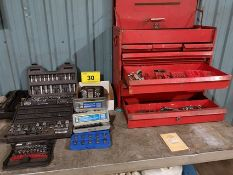LOT OF ASST. SOCKETS AND WRENCH W/ TOOLBOX