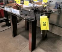 """APPROX. 44"""" X 48"""" X 1/4"""" THICK WELDING TABLE W/ (2) VISES"""