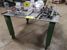 """APPROX. 49"""" X 48"""" X 1/2"""" THICK WELDING TABLE ON CASTORS"""