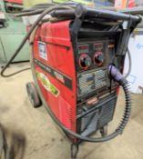 LINCOLN ELECTRIC POWER MIG 255 WELDER, S/N K1693-10986 U1030405834 W/ ANTRA HTH-1800A MASK