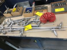 AIR NOZZLES WITH ASSORTED HOSES, BOLT CUTTERS, GREASE GUN, HAND TOOLS IN BOXES (MACHINE SHOP)