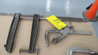 """LOT OF (2) BAR CLAMPS, BESSEY ANGLE CLAMP 16"""" X 6"""" AND 25-1/2"""" X 15"""" BAR CLAMP (MACHINE SHOP)"""