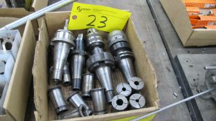 LOT OF CAT 40 TOOL HOLDERS W/ ATTACHMENTS AND COLLETS IN BOX (MACHINE SHOP)