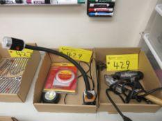 LOT OF (2) BOXES OF MAGNETIC BLOCK HALLOGEN LAMP, STARRETT ANGLE METER, BRASS TRIPPE BARREL