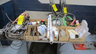 LOT OF WELDING SUPPLIES IN (11) BOXES INCLUDING SODEL 469B-250 SILVERY ALLOY BARE WIRE, CABLES,