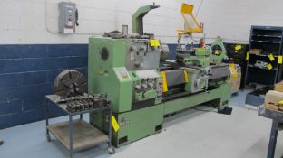 """TARNOW TUI50M LATHE, S/N 3562, 20 TO 1,600 RPM, 24"""" SWING, 80"""" BED, 3 AND 4 JAW CHUCKS, QUICK CHANGE"""