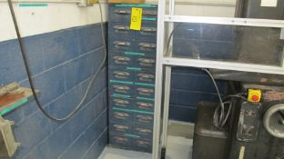 LOT OF WELDING ELECTRODES IN 10-LEVEL STORAGE CABINET AND WELDING SUPPLIES IN 2ND 10-LEVEL STORAGE
