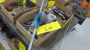 LOT OF TAPS, TAP WRENCH, CARBIDE BIT CUTTER BARS IN BOX (MACHINE SHOP)