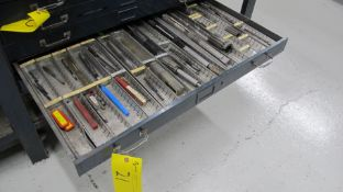 CONTENTS OF 1-DRAWER OF TOOL STORAGE CABINET INCLUDING REAMERS, ADJUSTABLE REAMERS, DRILL BITS, ETC.