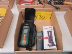 LOT BOX W/ EXTECH INSTRUMENTS RPM 40 PHOTO CONTACT TACHOMETER, GENERAL PCT900 DIGITAL MEASUREMENT