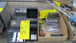 LOT OF (5) DRILL BIT KITS, PUNCH SETS, PUNCHES, DRILL BITS AND WHOLE SAW BLADES IN BOX (MACHINE