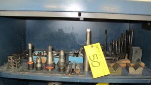 LOT OF TOOL HOLDERS, V-BLOCKS, MACHINE SCREW/CLAMPING SET, CUTTER BAR ON 1-SHELF (MACHINE SHOP)