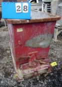 ON CASTERS SELF DUMPING WASTE BIN (NOTE: CASTERS DAMAGED )