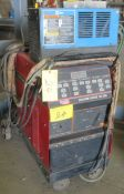 LINCOLN ELECTRIC SQUARE WAVE TIG 255 WELDER W/ MILLER KK202994 COOLING UNIT, CABLES AND CART