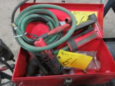 LOT OF WELDING GUNS & CABLES ON CART