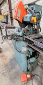 SCOTCHMAN CPO-350 COLD CUT SAW, 350LT/PA/11 W/ INFEED AND OUTFEED CONVEYORS