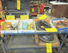 LOT OF WELDING SUPPLIES ON CART INCLUDING TUNCOWELD ELECTRODES, CABLES, TIPS, PARTS, ETC.